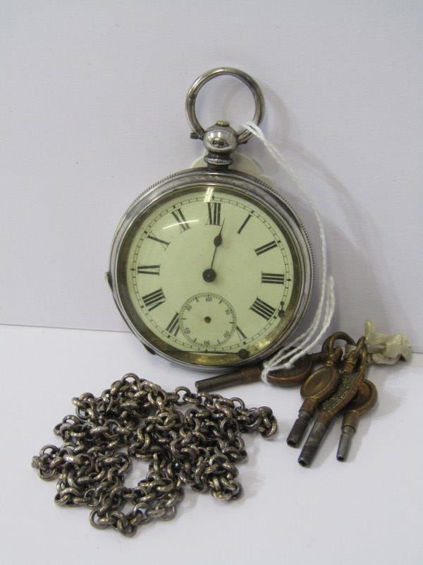 SILVER CASED POCKET WATCH, & white metal chain with small bunch of watch keys, watch in un-tested