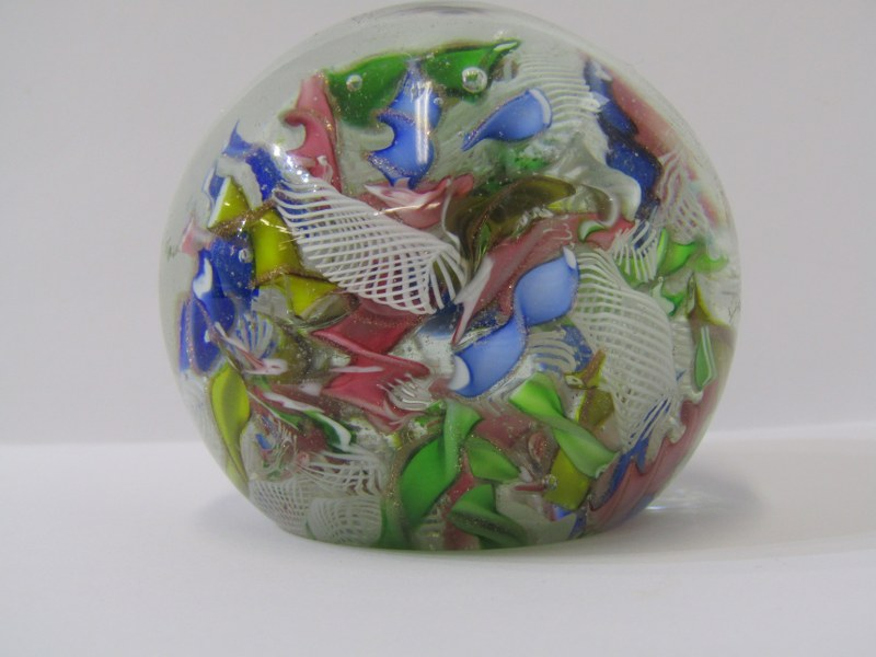 """ANTIQUE GLASS PAPERWEIGHT, scrambled cane design, 2.5"""" dia, some surface scratches - Image 2 of 3"""