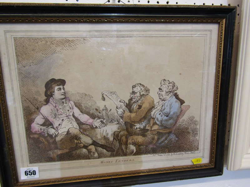 "GEORGIAN CARICATURE, hand coloured print ""Money Lenders"", dated 1784, 9"" x 13"""