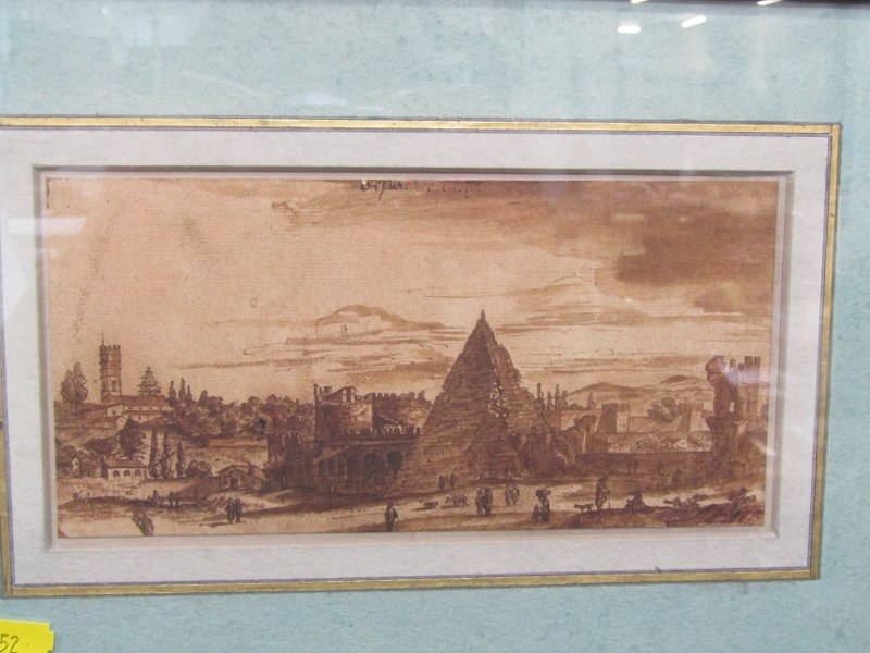 """17th CENTURY SEPIA WATERCOLOUR, attributed to M. Van Overbeck """"The Pyramid of Cestius, Rome"""", 4"""" x - Image 2 of 2"""