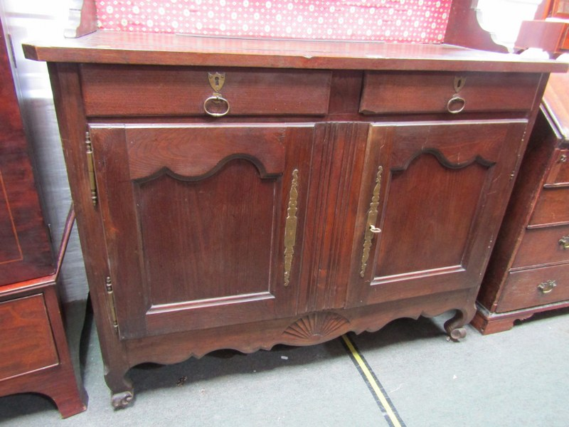 19TH CENTURY FRENCH DRESSER, open shelf plate rack with spindle gallery above twin cupboard and twin - Image 3 of 3