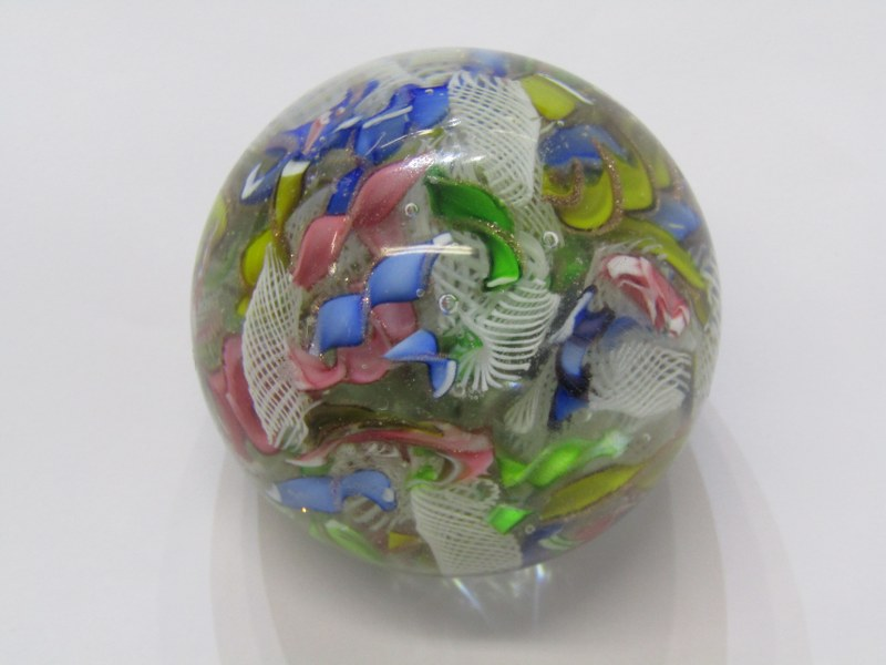 """ANTIQUE GLASS PAPERWEIGHT, scrambled cane design, 2.5"""" dia, some surface scratches"""