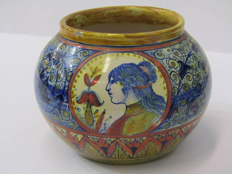 19th CENTURY ITALIAN FAIENCE, spherical pot decorated with portrait reserves by Santarelli of