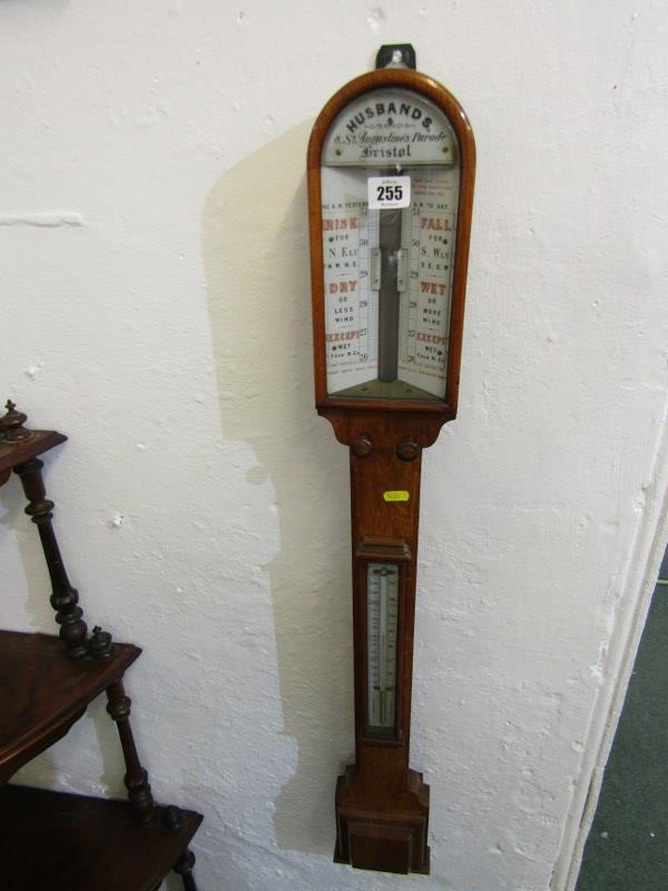 "VICTORIAN BAROMETER, oak case mercury stick barometer by Husbands of Bristol, 38"" height"