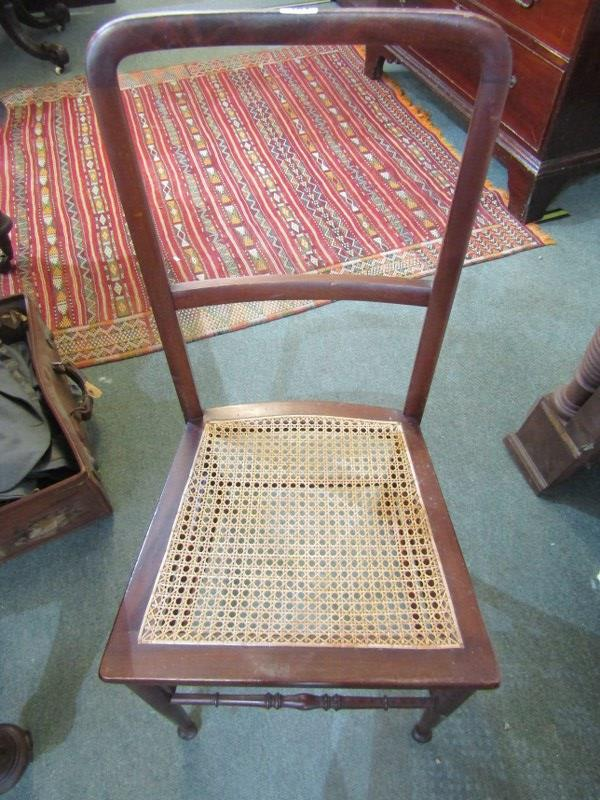 PAIR OF EDWARDIAN MAHOGANY BEDROOM CHAIRS, cane panelled seats - Image 2 of 2