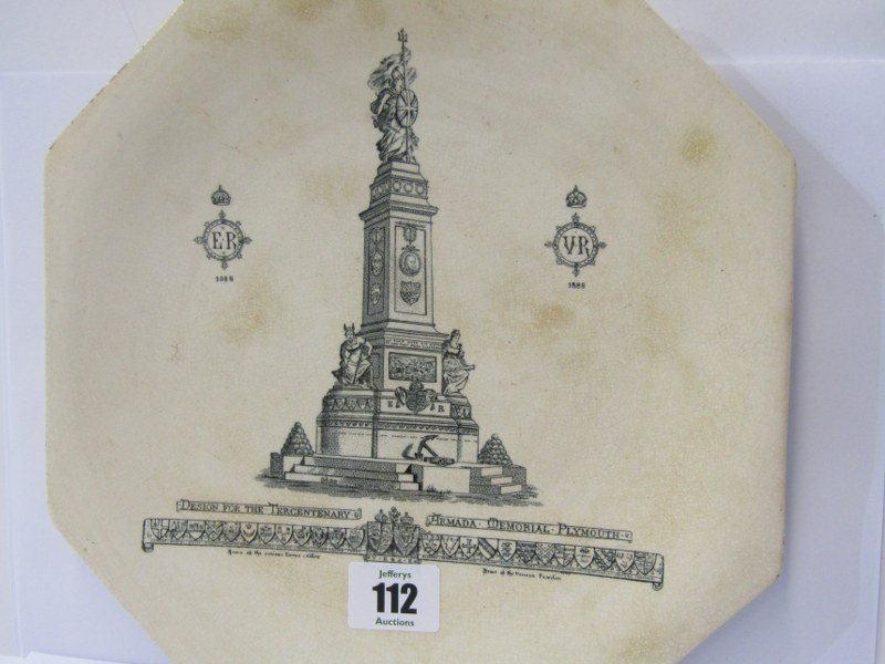 """PLYMOUTH MEMORIAL PLATE, octagonal earthen ware plate """"Designed for the Tercentenary Armada"""