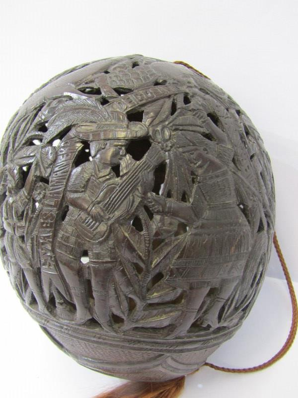 MARITIME, Bugbear carved coconut flask with pierced body depicting Bull Fighter and South American - Image 2 of 5