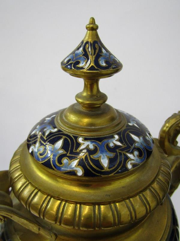 CHAMPLEVE, pair of fine 19th Century European pedestal lidded urn ornaments on claw feet and chimera - Image 5 of 6