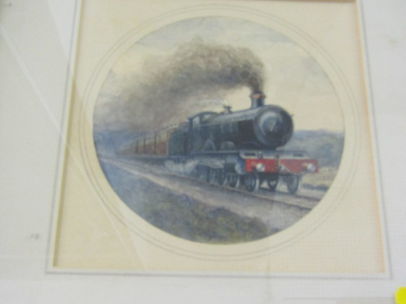 "RAILWAY, Major General Sir Robert Grant, Victorian watercolour study, ""Brighton Belle"", 5"" diameter"