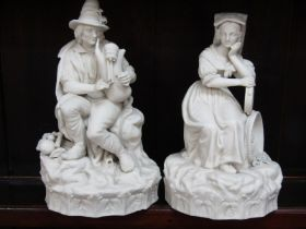 """PARIAN, pair of 19th Century Continental Parian figures """"The Grape Harvester"""" and """"The Bagpipe"""