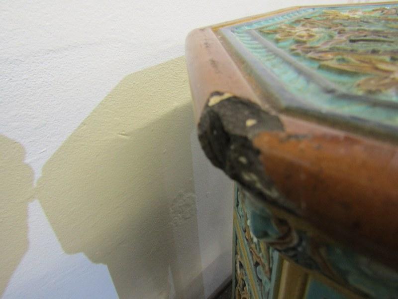 "MAJOLICA GARDEN SEATS, 2 Minton-style Persian design octagonal garden seats, 1 25"" height, other - Image 6 of 7"