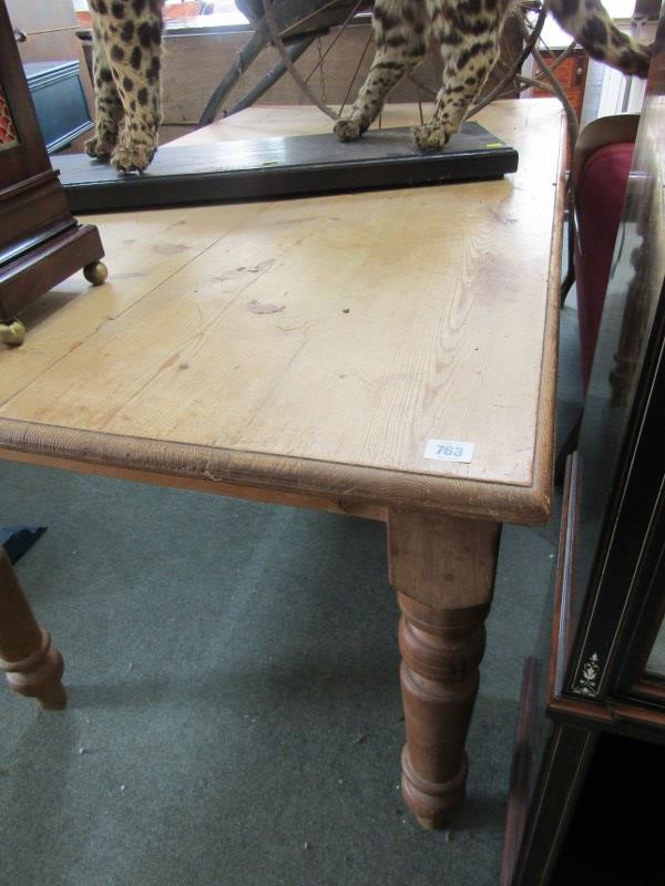 """PINE FARMHOUSE TABLE, tapering turned legs, 33"""" width 60"""" length - Image 2 of 2"""
