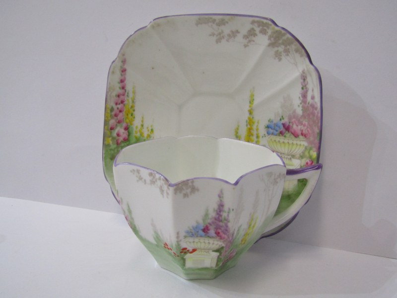 SHELLEY TEAWARE, Cabaret set of octagonal tea pot, cup & saucer, sugar bowl, cream jug and stand, - Image 3 of 4