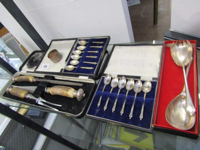 CUTLERY, cased antler handled carving set, HM silver serviette ring, vintage compact & 2 sets of