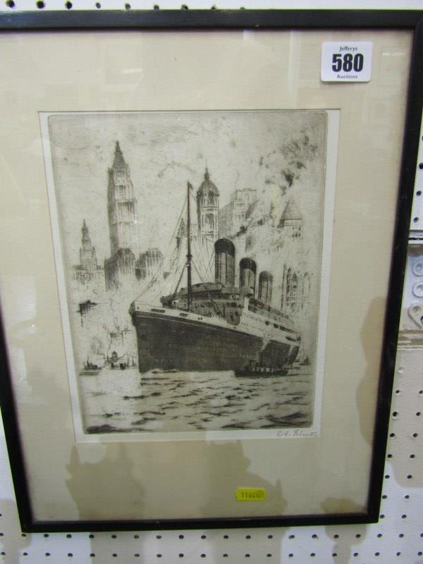 """MARITIME, pencil signed etching """"R.M.S. Majestic off New York"""", 9"""" x 7"""", blind stamp from New York"""