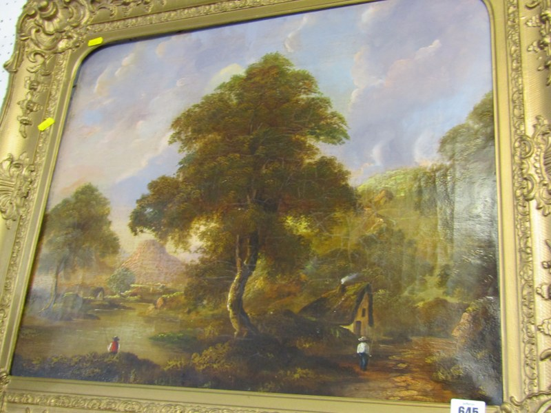 """19th CENTURY ENGLISH SCHOOL, oil on canvas """"Riverside Cottages with Angler to foreground"""", 19"""" x 23"""" - Image 3 of 3"""