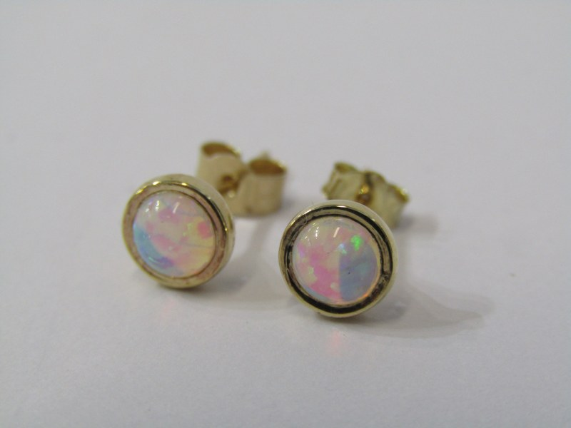 PAIR OF 9CT YELLOW GOLD OPAL STUD EARRINGS, with butterfly backs