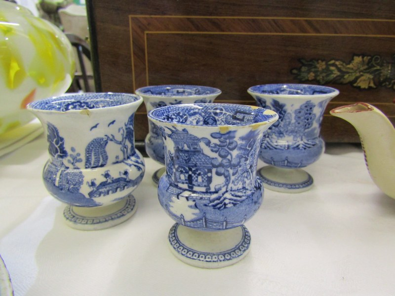 REGENCY MINIATURE PORCELAIN TEA POT, collection of 7 Willow Pattern egg cups, also 2 early Delft - Image 3 of 6