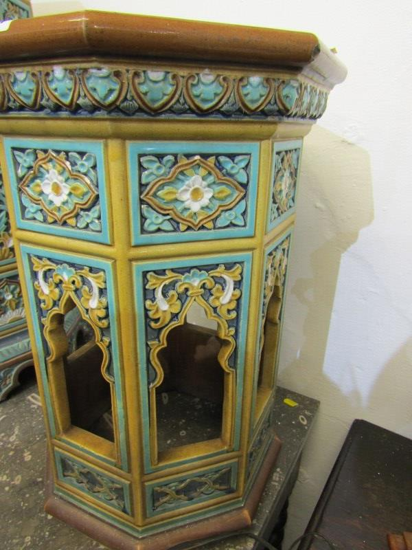 "MAJOLICA GARDEN SEATS, 2 Minton-style Persian design octagonal garden seats, 1 25"" height, other - Image 7 of 7"