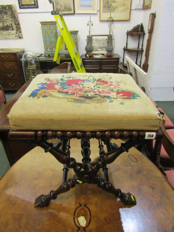VICTORIAN NEEDLEWORK TOP SQUARE FOOT STOOL, baluster X frame stretcher