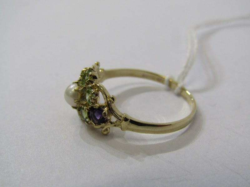 9CT YELLOW GOLD LADIES SUFFREAGETTE STYLE CLUSTER RING, peridot, amethyst & cultured pearl to give - Image 2 of 3