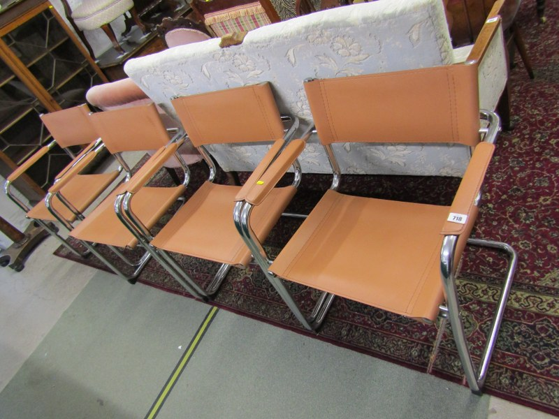 """RETRO, set of 4 """"Bauhaus S34"""" style chrome and tan leatherette dining chairs"""