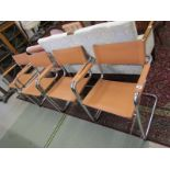 "RETRO, set of 4 ""Bauhaus S34"" style chrome and tan leatherette dining chairs"