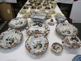 VICTORIAN IRONSTONE, collection of matched coloured ironstone tableware including Masons octagonal
