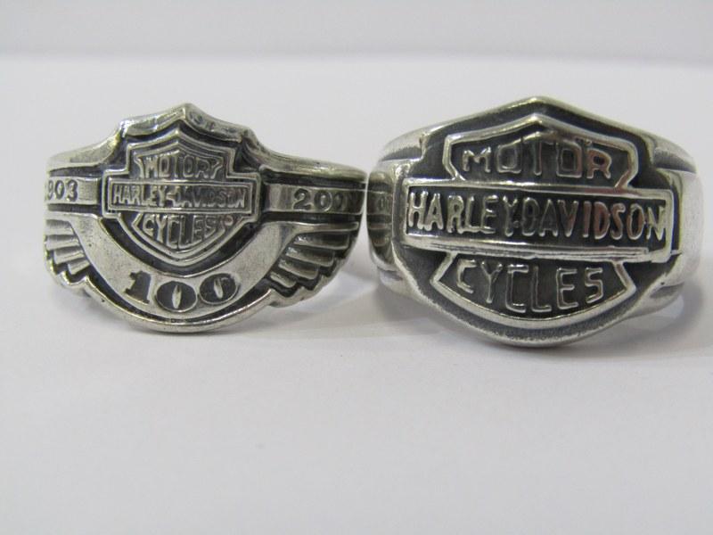 2 SILVER HARLEY DAVIDSON RINGS