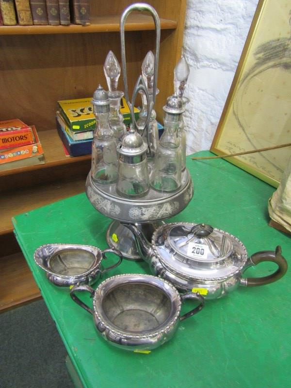 SILVER PLATE, 6 bottle condiment set on plated stand with etched glass decoration, together with 3