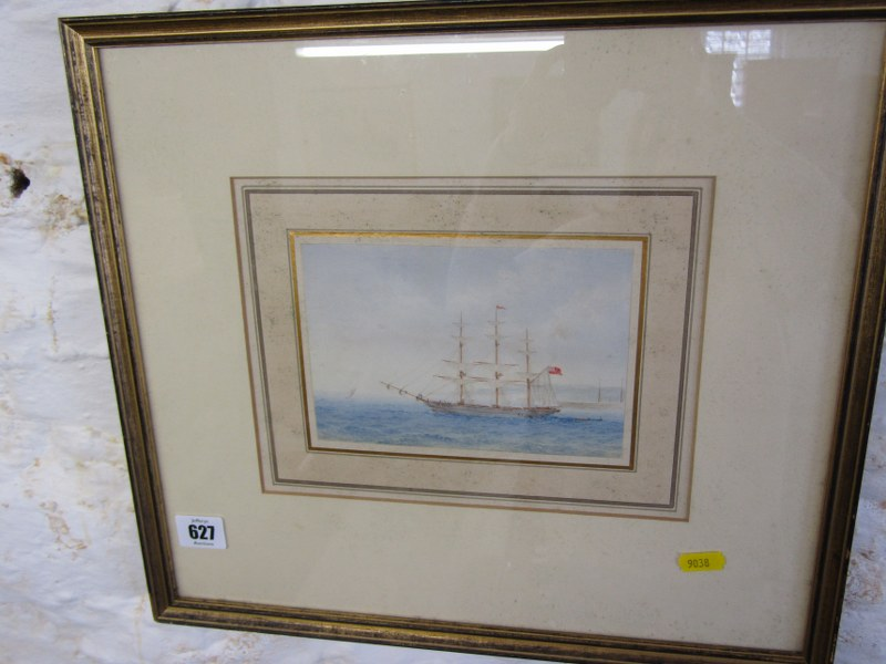 "SHIP PORTRAIT, indistinctly signed watercolour ""Portrait of Triple Masted Scooner"", 4.5"" x 6.5"""