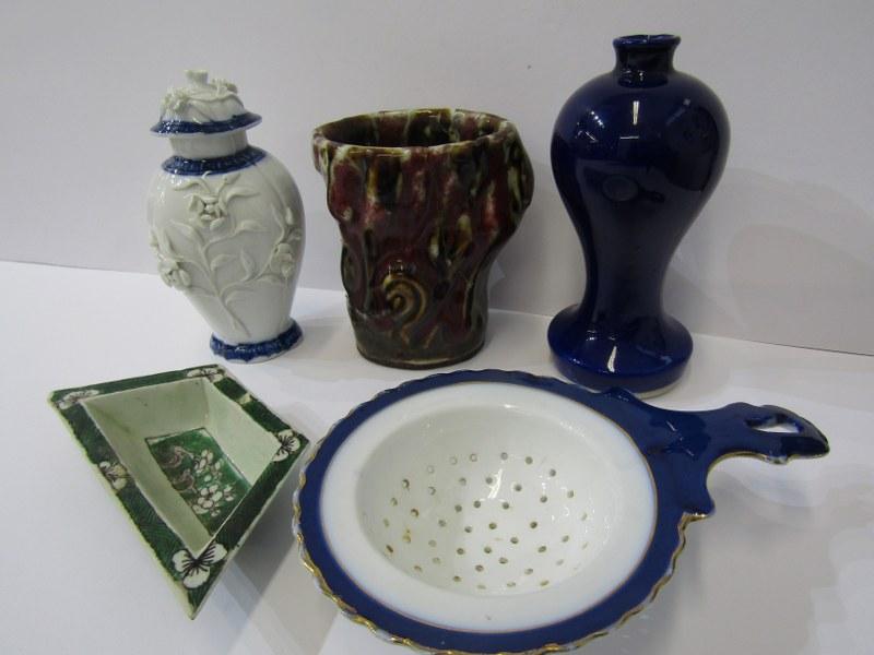 """ORIENTAL CERAMICS, floral encrusted 5"""" lidded vase (rim damage) Famille Verte small hor d'oeuvres"""