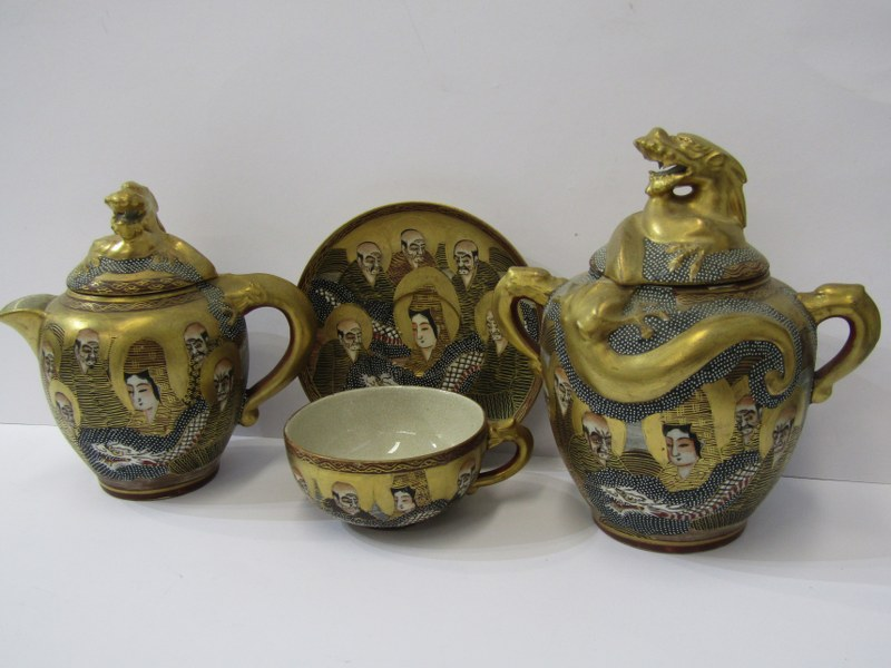ORIENTAL CERAMICS, Satsuma gilded tea service of 7 cups and saucers, together with matching Dragon