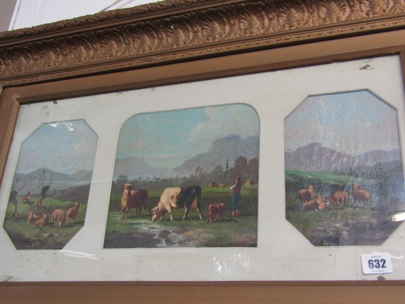 19th CENTURY ENGLISH SCHOOL, pair of oils on canvas triptychs signed Berry, depicting Highland - Image 2 of 3