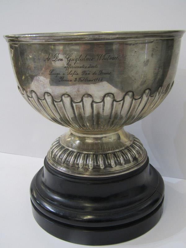 SILVER PRESENTATION PEDESTAL BOWL, half fluted stemmed silver bowl with Italian inscription for