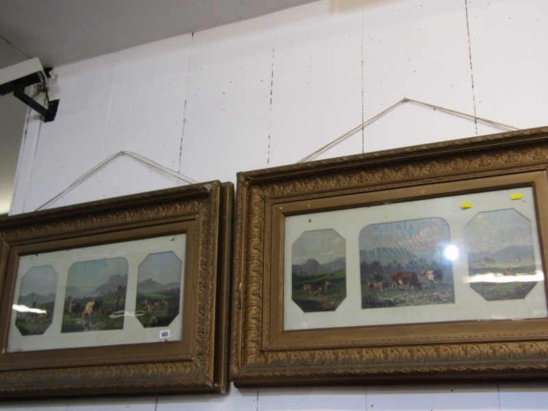 19th CENTURY ENGLISH SCHOOL, pair of oils on canvas triptychs signed Berry, depicting Highland