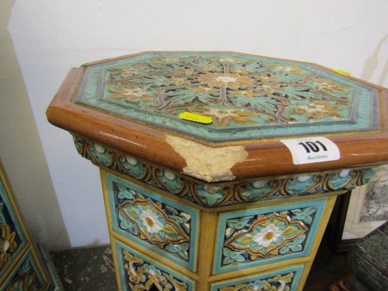 "MAJOLICA GARDEN SEATS, 2 Minton-style Persian design octagonal garden seats, 1 25"" height, other - Image 5 of 7"