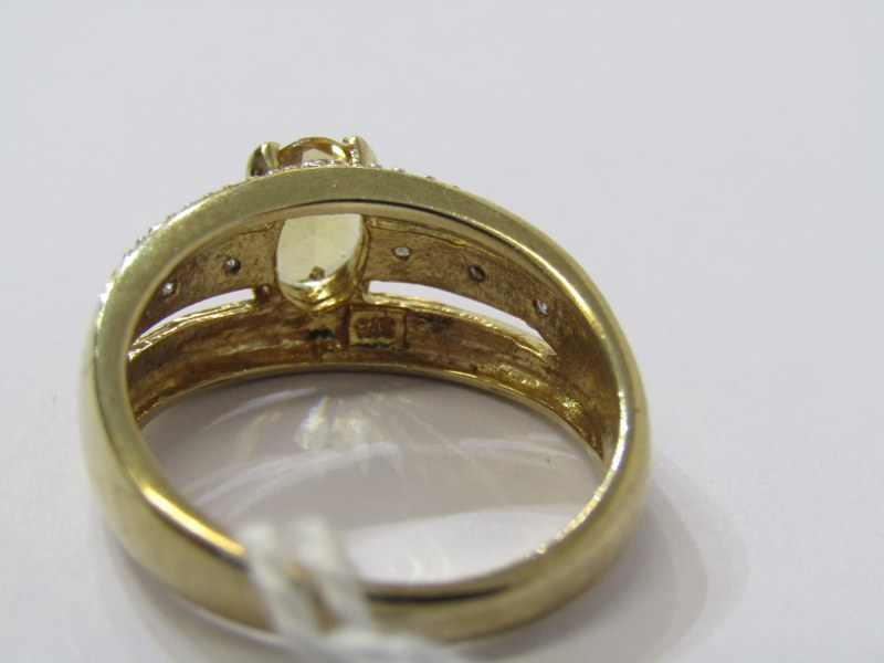 9CT YELLOW GOLD CITRINE & DIAMOND RING, principal oval cut citrine in 4 claw setting, set with - Image 3 of 3