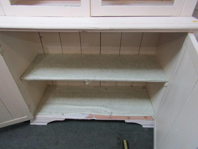 "PAINTED GLAZED KITCHEN DRESSER, twin cupboard base, 43"" width - Image 3 of 3"