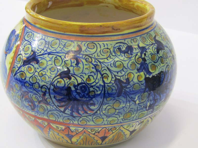19th CENTURY ITALIAN FAIENCE, spherical pot decorated with portrait reserves by Santarelli of - Image 2 of 5