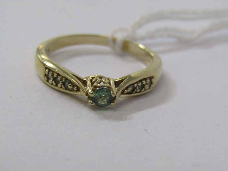 9CT YELLOW GOLD EMERALD SOLITAIRE RING, principal brilliant cut emerald in 4 claw setting with