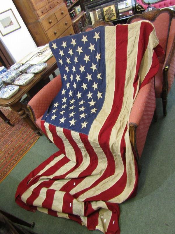 """VINTAGE AMERICAN FLAG, 98"""" width"""