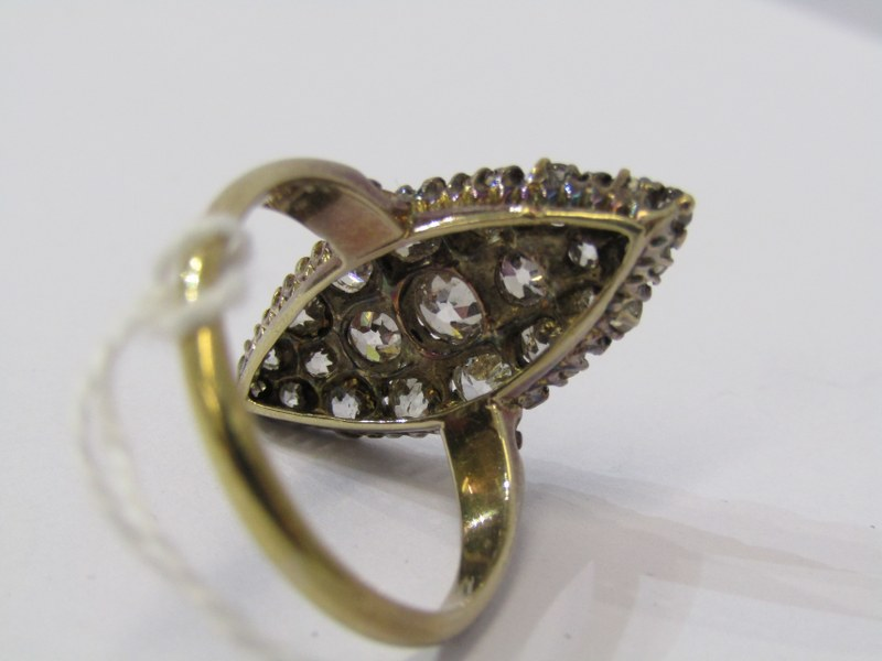 VINTAGE 18ct YELLOW GOLD DIAMOND SET MARQUISE CLUSTER RING, total diamond weight in excess of 2ct, - Image 3 of 3