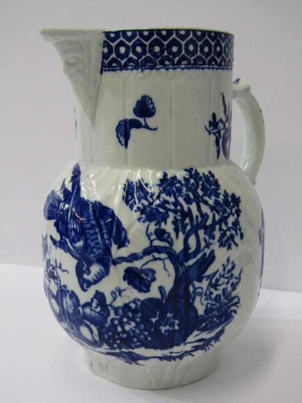 """18th CENTURY WORCESTER, Porcelain """"Parrot pecking Fruit"""" pattern cabbage leaf and mask lipped 7"""" jug"""