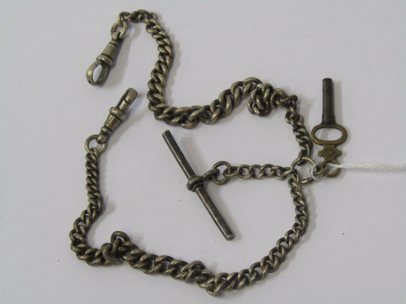 SILVER HALLMARKED DOUBLE ALBERT CHAIN, with watch key, approximately 36.9grm in weight