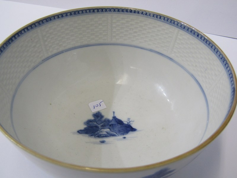 "ORIENTAL CERAMICS, underglaze blue 6"" circular bowl decorated with panoramic riverscape and interior - Image 2 of 8"