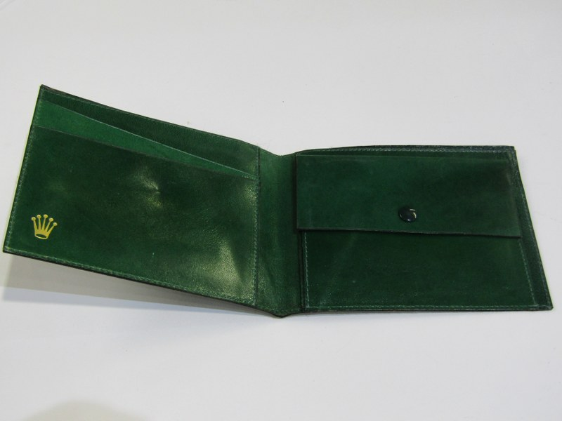 GREEN LEATHER ROLEX WALLET
