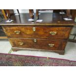 GEORGIAN BURR WALNUT CHEST, cross banded twin drawer low chest with engraved brass handle back