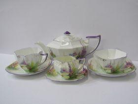 SHELLEY TEAWARE, Cabaret set of octagonal tea pot, cup & saucer, sugar bowl, cream jug and stand,