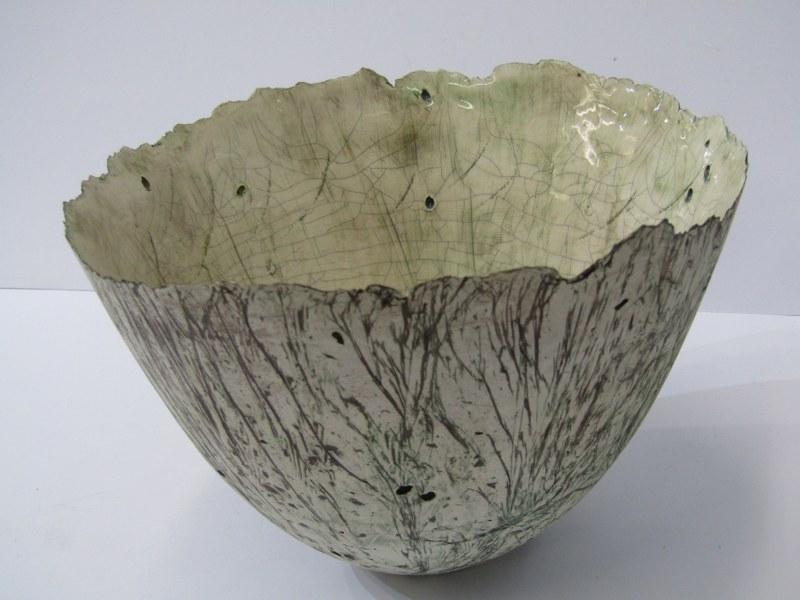 "STUDIO POTTERY, Alison Morsby sculptured pottery fruit bowl, 8"" dia"